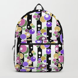 Colorful polka dots on black and white striped background . Backpack