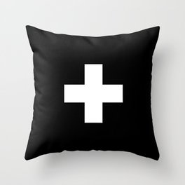 Swiss Cross Black and White Scandinavian Design for minimalism home room wall decor art apartment Throw Pillow