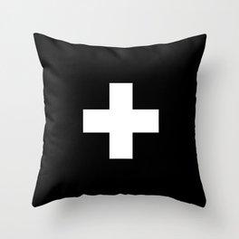 Swiss Cross Black and White Scandinavian Design for minimalism home room wall decor art apartment Throw Pillow