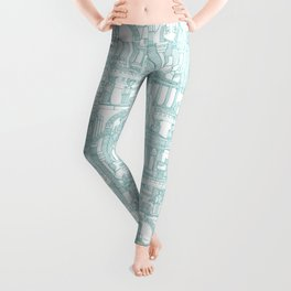 Ancient Greece teal white Leggings