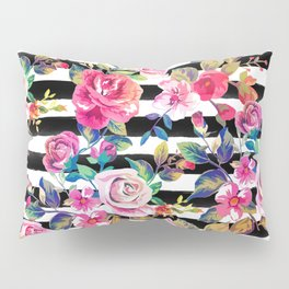 Cute spring floral and stripes watercolor pattern Pillow Sham