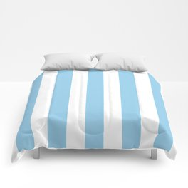 Light cornflower blue - solid color - white vertical lines pattern Comforters