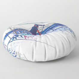 Spinning the Deck - Trick Scooter Sports Art Floor Pillow