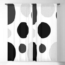 Atomic Era Circles With Dots Black White Blackout Curtain