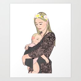 Blond Mother holding toddler girl while babywearing // portrait illustration of attachment parenting Art Print