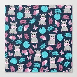 Cute Pink Teal Hippo Floral Butterfly Lily Pad Canvas Print
