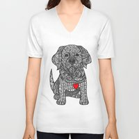 golden retriever V-neck T-shirts featuring Gentle Giant - Golden Retriever by DiAnne Ferrer