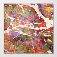 stockholm Canvas Prints featuring Stockholm by MapMapMaps.Watercolors