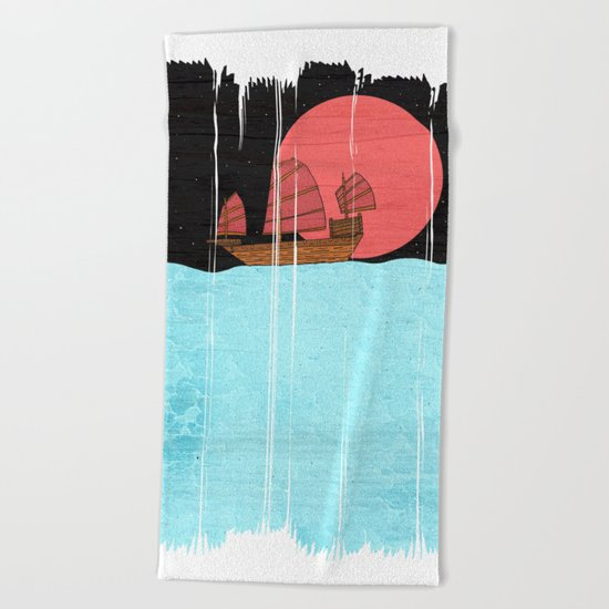 Oriental Sailing Beach Towel