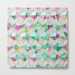 """Geometry is Fun"" Teal & Pink Metal Print"