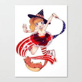 American witch 4th of july Canvas Print