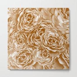 Passion Roses Random Pattern Gold Metal Print