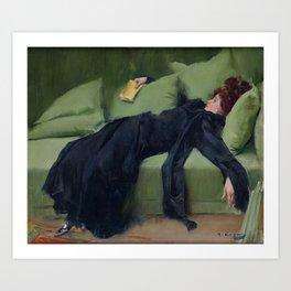 A DECADENT GIRL - RAMON CASAS Art Print