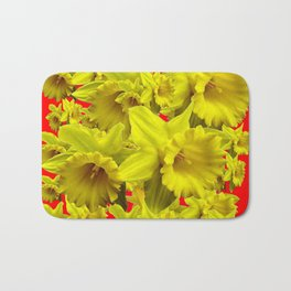 YELLOW SPRING DAFFODILS ON CHINESE RED ART Bath Mat