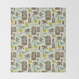 Island Tiki - Tan Throw Blanket