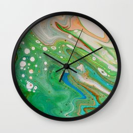 Green and Blue Marble Swirl Fluid Painting Pour Wall Clock