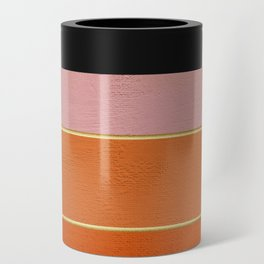 Orange, Pink And Gold Abstract Painting Can Cooler