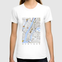 New York City Map United States Mondrian color T-shirt