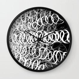 Black Spiral Swirls Reverse Wall Clock