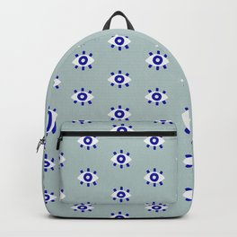 Evil Eye Dots – Mint & Navy Backpack