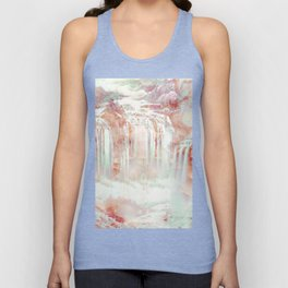 Modern abstract coral pink teal waterfalls Unisex Tank Top