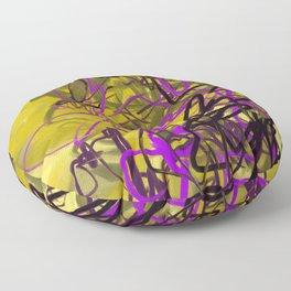 Yellow & Purple Energy Swarm Abstract Floor Pillow