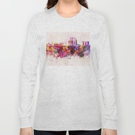 Singapore V2 skyline in watercolor background Long Sleeve T-shirt