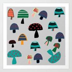 Cute Mushroom gray Art Print