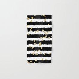Modern black watercolor stripes chic gold confetti Hand & Bath Towel