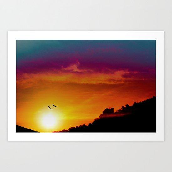 At the rising sun Art Print