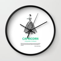 capricorn Wall Clocks featuring Capricorn by Cansu Girgin