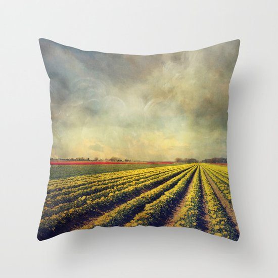 Chaos & Order - Field of Tulips Throw Pillow