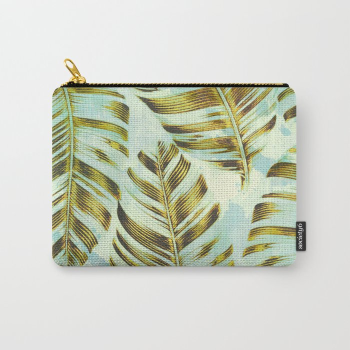 turquoise splash and golden leaves Carry-All Pouch