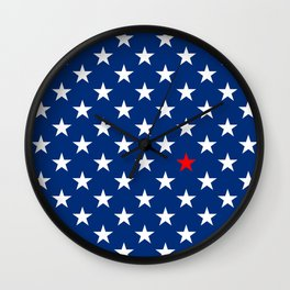 Red Star & White Stars on Blue Wall Clock