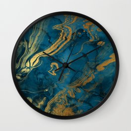 Fire & Ice Blue and gold marbling swirls Wall Clock