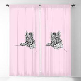 Amur tiger cub - pink Blackout Curtain