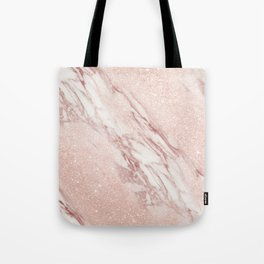 Rose Gold, Blush Pink Glitter Marble Abstract Tote Bag