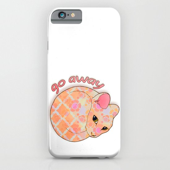 Go Away - Patterned Cat Illustration  iPhone & iPod Case