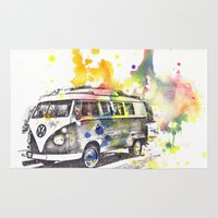 vw bus Area & Throw Rugs featuring Classic Vw Volkswagen Bus Van Painting by idillard