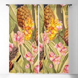 Vintage & Shabby Chic - Hot Summer Yellow Pineapple Tropical Flower Garden Blackout Curtain