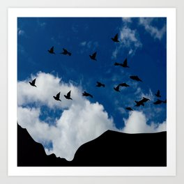 Sky, Face Profile Mountains and Black Birds Art Print