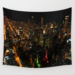 Night Skyline from Skydeck #1 (Chicago Architecture Collection) Wall Tapestry