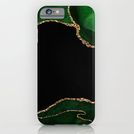 Green & Gold Agate Texture 04 iPhone Case