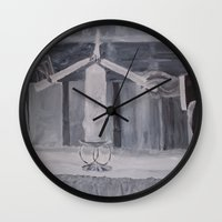 wedding Wall Clocks featuring Wedding by Lark Nouveau Studio