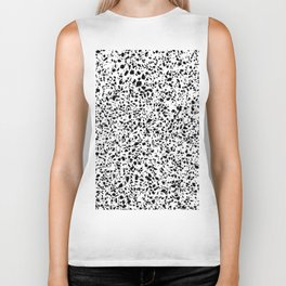 Black and White Dalmatian Pattern Dots Terrazzo Print Biker Tank
