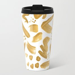 Modern abstract gold strokes paint Travel Mug