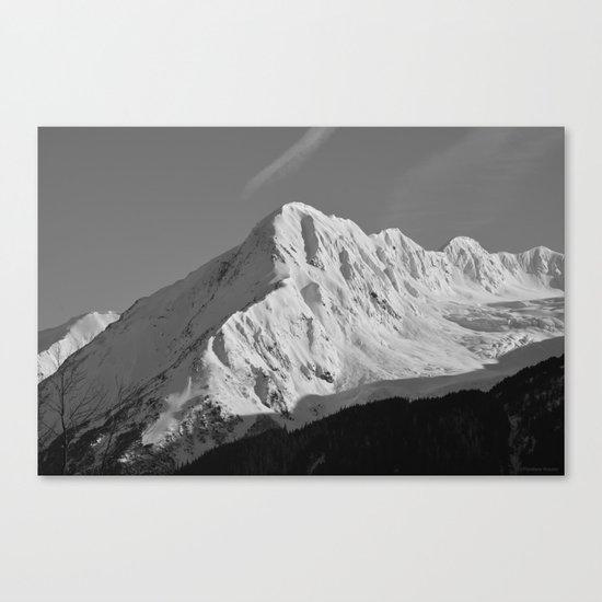 Portage Valley Mountain Glacier - B & W Canvas Print