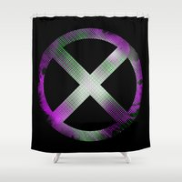 men Shower Curtains featuring X-Men by Trey Crim