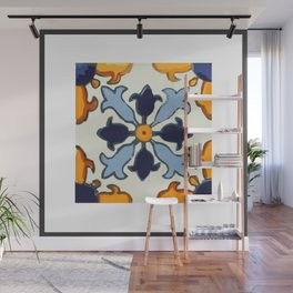 Talavera Mexican tile inspired bold design in blue and gold Wall Mural