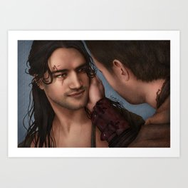 Nagron First Kiss (Nasir, Spartacus) Color Version Art Print